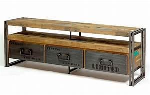Meuble Tv Bois Et Fer : meuble tv industriel fer et bois factory samudra livraison gratuite ~ Teatrodelosmanantiales.com Idées de Décoration