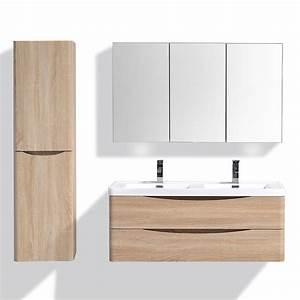 Meuble Double Vasque Suspendu : meuble de salle de bain double vasque coloris brun gauche ~ Melissatoandfro.com Idées de Décoration