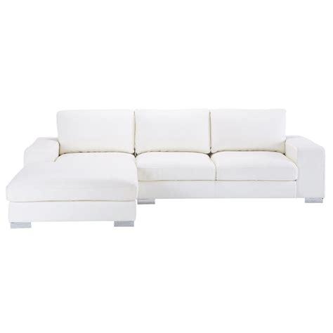 canapé d 39 angle 5 places en cuir blanc york maisons