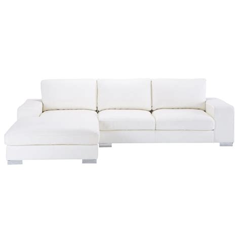 canape d angle cuir blanc canapé d 39 angle 5 places en cuir blanc york maisons