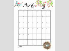 Blank April 2019 Calendar Printable Template Editable