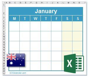 excel calendar  au holidays