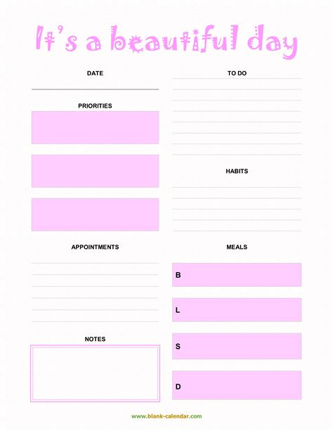 daily planner templates word excel