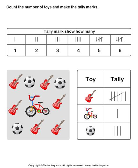 Count Objects And Make Tally Chart Worksheet  Turtle Diary