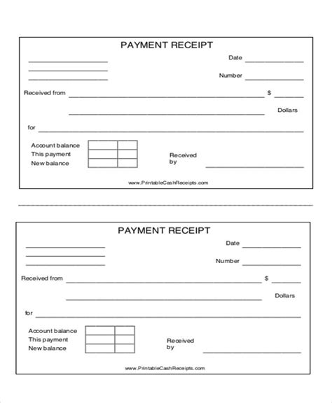 8 payment receipt formats pdf word