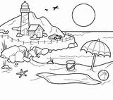 Sunset Coloring Pages Beach Cool Summer sketch template