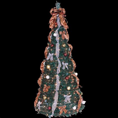 6 ft indoor pre lit pop up artificial christmas tree with