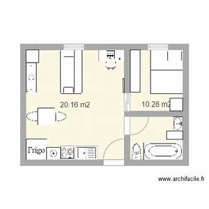 t2 appartement plan 2 pieces 30 m2 dessine par sly ju With plan de maison 2 pieces