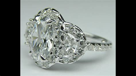 es816 oval halo engagement ring half moon side stones youtube