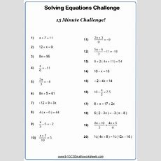 Solving Linear Equations Worksheets Cazoomy