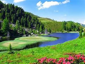 spring, landscape, slope, sky, nature, river, 2560x1600, hd
