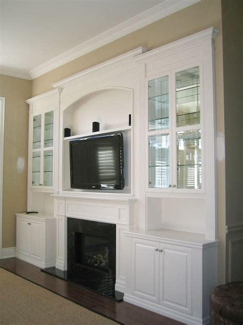 White Lacquer Wall Unit with TV & Fireplace Inserts