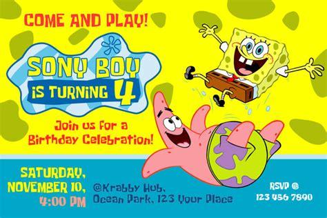 spongebob birthday card template spongebob squarepants birthday invitation dioskouri designs