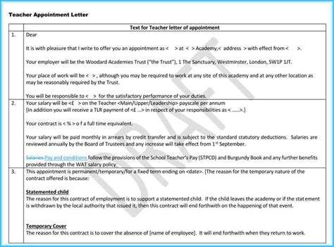 teacher appointment letter templates  samples  word