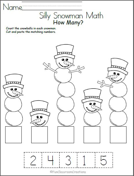 silly snowman math numbers worksheet school
