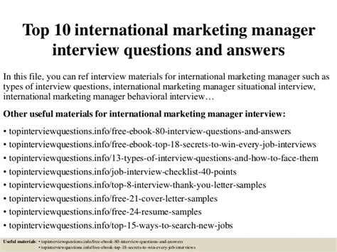 Questions For Production Manager And Answers by Top 10 International Marketing Manager Questions