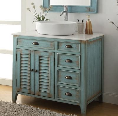 """Vessel sink vanities are the preferred bathroom cabinet sets for the discerning homeowner who wants to make a unique statement in her bathroom. 36"""" inch Bathroom Vanity Coastal Beach Style White Vessel ..."""