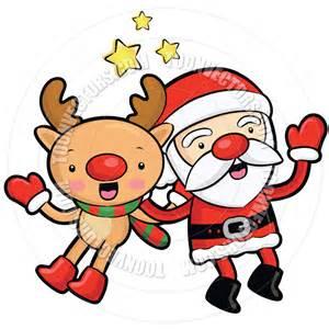 Cartoon Santa Claus and Reindeers