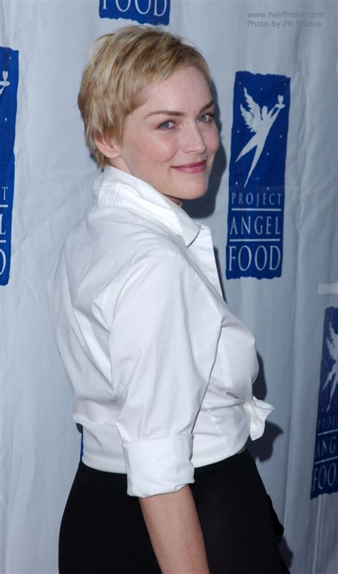 sharon stone perfectly cut pixie   hair left
