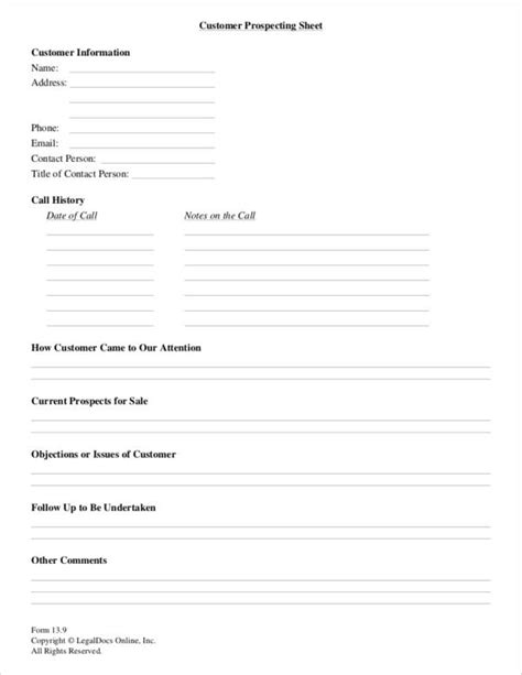 3 sales prospecting sheet sles and templates pdf excel