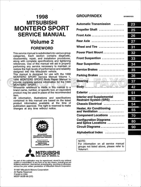 service manuals schematics 2000 mitsubishi montero sport electronic valve timing 1998 mitsubishi montero sport repair shop manual set original