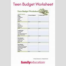 Teen Budget Worksheet  Teens  Budgeting Worksheets, Budgeting, Life Skills Activities