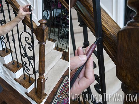 Replace Banister And Spindles by How To Install Iron Balusters View Along The Way