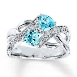 topaz engagement ring blue topaz ring accents sterling silver