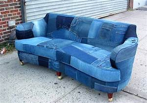 Upcycled denim sofa creates buzz on craigslist homecrux for Small sectional sofa denim