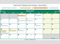 Print Friendly March 2017 South Africa Calendar for printing