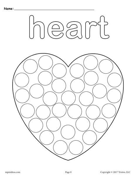 heart   dot printable heart coloring page supplyme