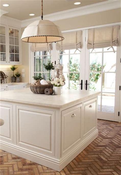 herringbone brick floor white country kitchens