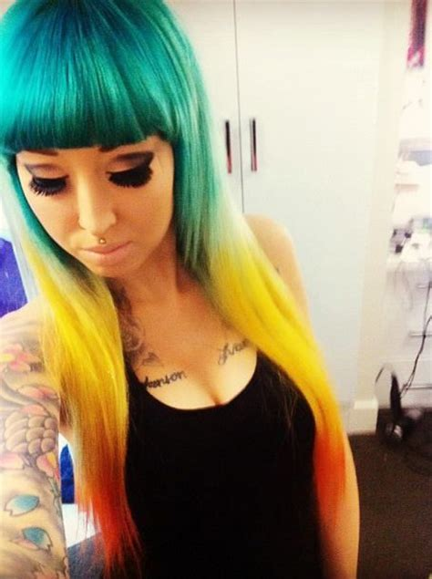 Teal Yellow And Orange Ombre Dip Dyed Hair Hair Color