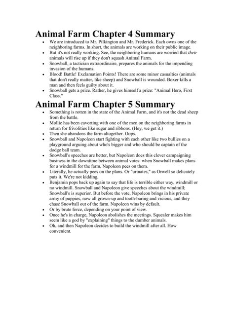 animal farm chapter  summary