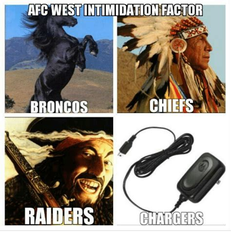 Raiders Chargers Meme - afc west intimidation factor chiefs broncos raiders chargers meme on sizzle