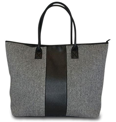 personalized herringbone tote bag