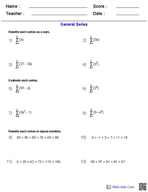 sequences and series worksheet answers algebra 2 worksheets sequences and series worksheets