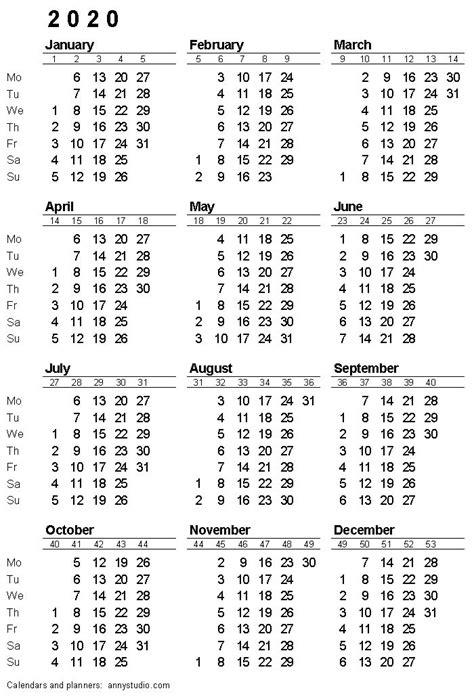 printable calendar  monday week start iso week