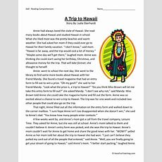 Reading Comprehension Worksheet  A Trip To Hawaii