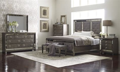 bed and dresser set lenox upholstered glam bedroom set by avalon furniture 14133