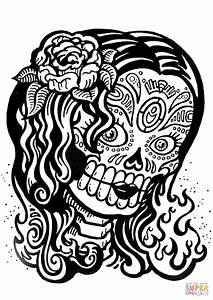 Sugar Skull Girl coloring page | Free Printable Coloring Pages