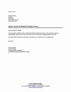 notice to terminate tenancy at will by tenant template With end of tenancy letter template from landlord