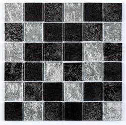 Self Adhesive Kitchen Backsplash Tiles Black Silver Leaf Mix Glass Mosaic Tile