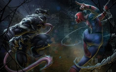 Wallpaper Venom Vs Spiderman, Artwork Wallpapermaiden