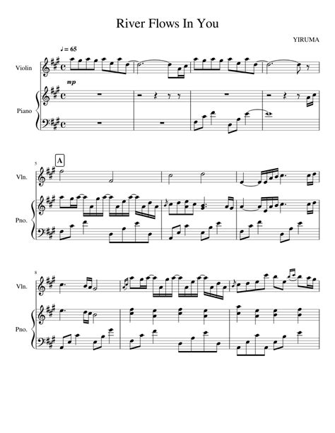 Partition piano sheet music / yiruma river flows in you. River Flows In You Sheet music for Piano, Violin (Solo) | Musescore.com