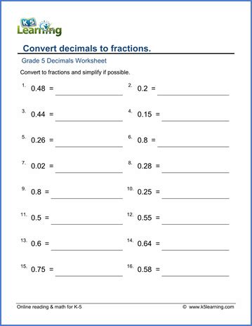 grade 5 math worksheet fractions convert and simplify
