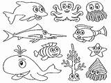 Coloring Ocean Animals Printable sketch template
