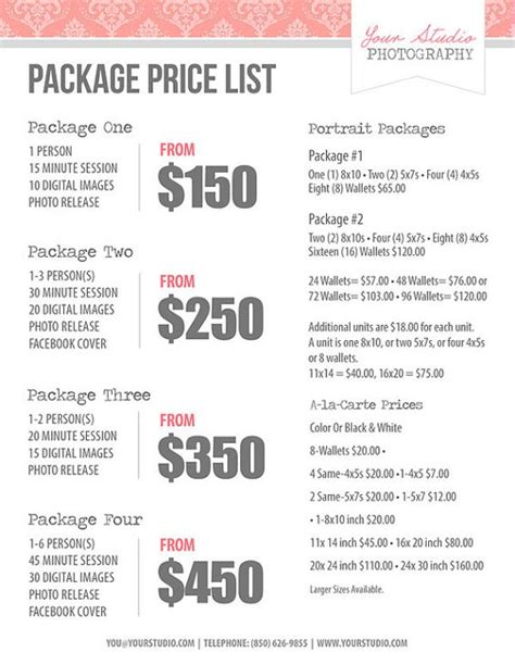 photography price list pricing list  photographers