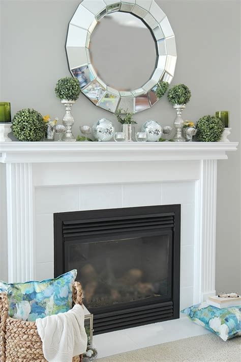 green ornaments balls mantel decorating ideas setting for four