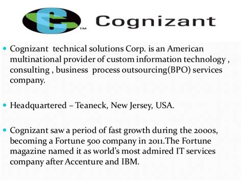 Cognizant organizational culture and structure